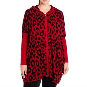 Joseph A Leopard-Knit Hooded Zip-Front Poncho